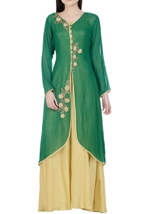 dark-green-beige-sequined-kurta-with-inner