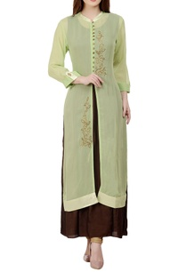 green-brown-stone-embellished-kurta-with-inner
