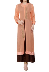peach-brown-stone-embellished-kurta-with-inner