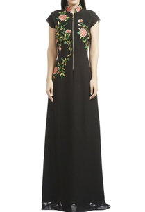 black-floral-thread-embroidered-gown