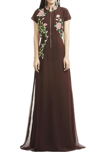brown-floral-thread-embroidered-gown