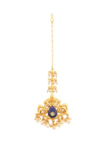 gold-plated-maangtika-with-blue-lapiz-stone-pearls