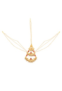 gold-plated-maangtika-with-ruby-red-stones-pearls