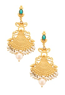 gold-plated-drop-earrings-with-turquoise-stud-and-pearls
