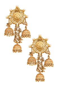 gold-plated-carved-jhumkas-with-pearls