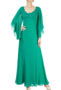 sea-green-cowl-neck-embroidered-gown