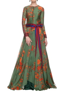 moss-green-floral-gown-with-a-waist-band