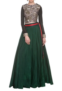 black-embellished-crop-top-with-emerald-green-skirt
