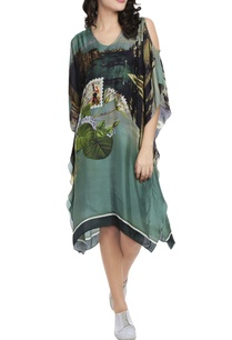 moss-green-printed-cold-shoulder-kaftan-dress