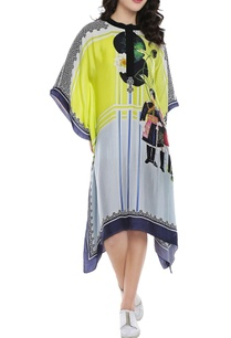 lemon-yellow-powder-blue-printed-kaftan-dress