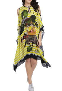 lemon-yellow-white-striped-printed-kaftan-dress