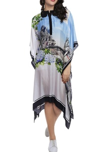 sky-blue-white-printed-kaftan-dress