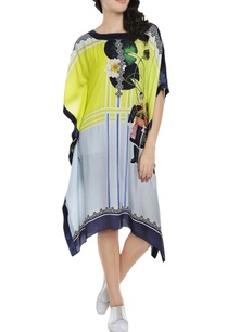 lemon-yellow-powder-blue-printed-kaftan-dress