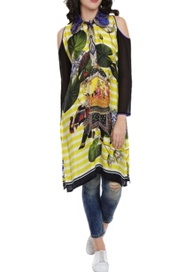 black-white-motif-printed-kaftan-dress