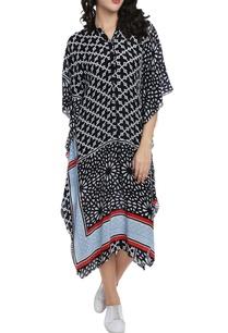black-white-motif-printed-kaftan-dress