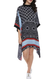 black-white-patchwork-printed-kaftan-dress