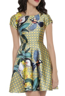 pale-yellow-blue-tropical-printed-dress