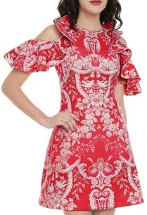 red-white-printed-dress-with-cold-shoulder-sleeves