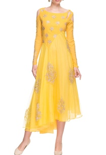 yellow-cold-shoulder-dress-with-gold-embellishments