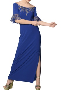 cerulean-blue-embroidered-off-shoulder-gown