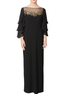 black-gown-with-sheer-embroidered-back