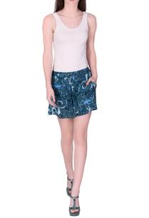 blue-vintage-floral-printed-shorts