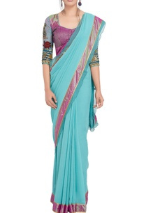turquoise-purple-sari-with-applique-work-blouse