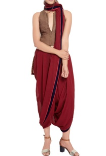 maroon-sari-taupe-embellished-high-low-blouse