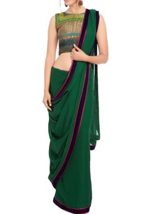 bottle-green-sari-multi-colored-embroidered-blouse