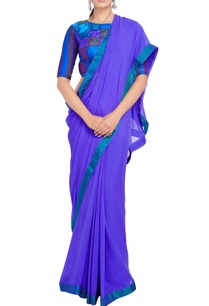 lavender-sari-multi-colored-pintuck-blouse
