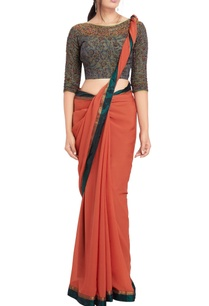 rust-orange-sari-grey-kalamkari-beadwork-blouse