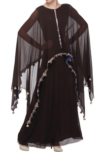 dark-brown-cape-maxi-dress