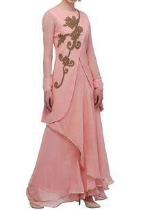 pastel-pink-wrap-kurta-skirt