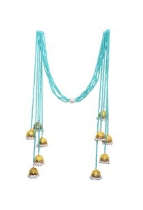 mint-blue-beaded-long-jhumka-tassel-necklace