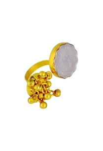 gold-plated-ring-with-cluster-of-ghungroos-vintage-coins