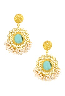 gold-plated-filigree-danglers-with-turquoise-stud