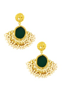 gold-plated-danglers-with-and-emerald-semi-precious-stone