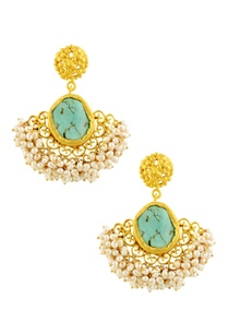 gold-plated-danglers-with-turquoise-semi-precious-stone