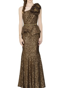 coffee-brown-embellished-one-shoulder-gown