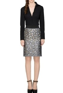 grey-sequin-embellished-skirt