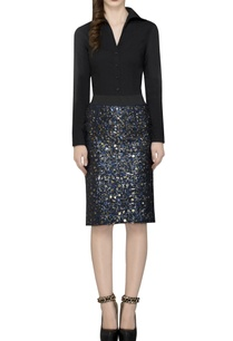 navy-blue-sequin-embellished-skirt