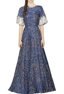 blue-sequin-gown-with-bell-sleeves