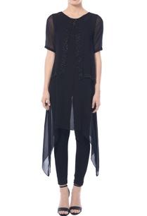 black-asymmetric-embellished-tunic