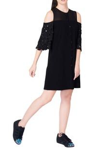 black-cold-shoulder-dress