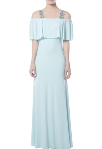 aqua-blue-cold-shoulder-gown