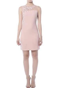 frost-pink-embroidered-short-dress