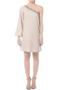beige-one-shoulder-embellished-dress