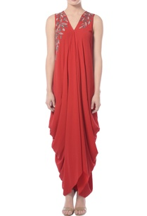 red-draped-maxi-dress