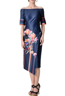 midnight-blue-off-shoulder-midi-dress