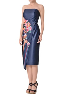 midnight-blue-tube-midi-dress